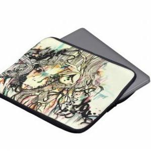 15 inch laptop case. Abstract portr..