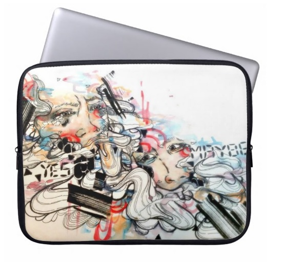 Pop surreal art laptop sleeve. 15 inch watercolor art illustration laptop case