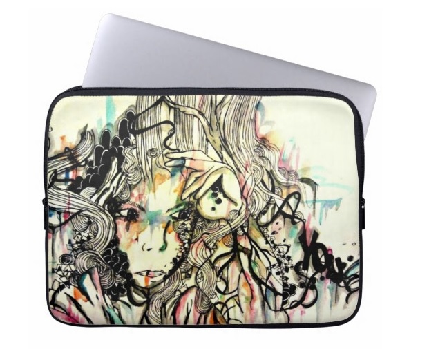 15 inch laptop case. Abstract portrait illustration laptop sleeve.