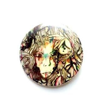 Art button. Watercolor art illustration art pin back button