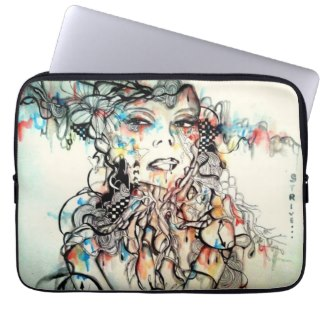 abstract portrait art illustration 15 inch laptop sleeve