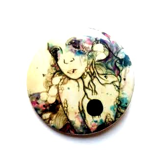 Small pin back button. Pop surreal art illustration button