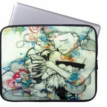 psychedelic portrait art laptop sleeve. Watercolor art neoprene laptop case